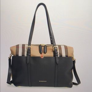 Burberry House Check and leather diaper bag!